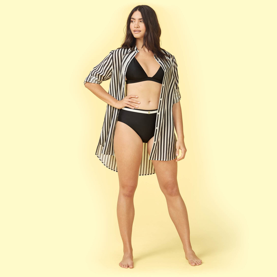 The All Buttoned Up Cover-Up Sea Urchin and White Sand Ashley