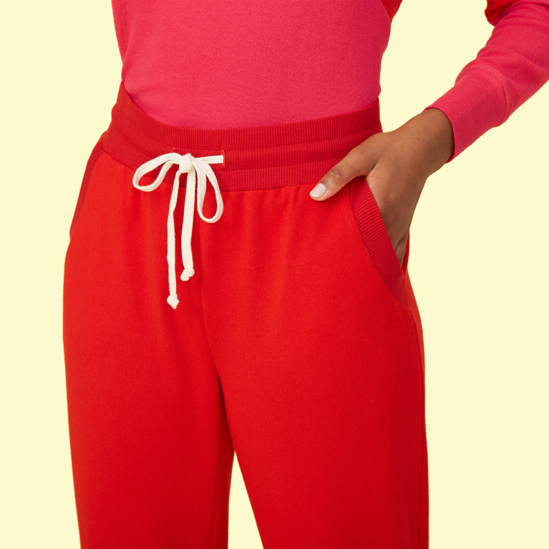 The Softest French Terry Jogger - Lava & Hibiscus