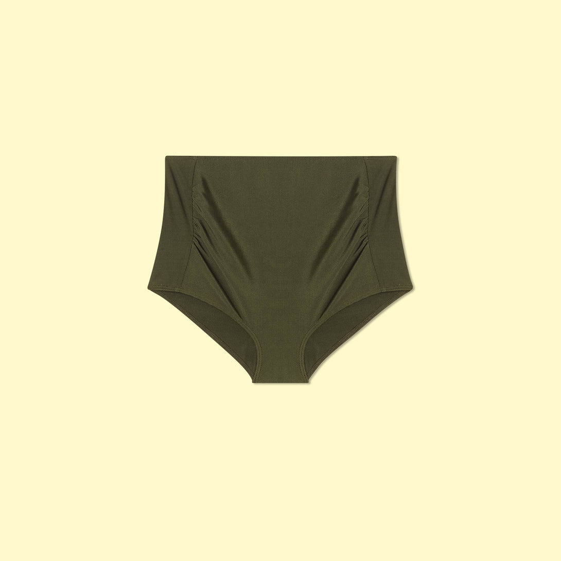 The Maternity Ribbed Classic High Rise Bikini Bottom Olive