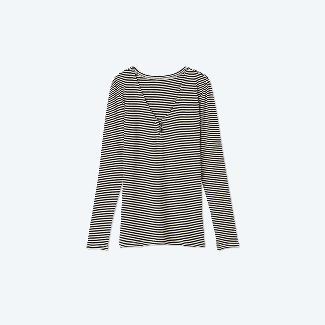 The Softest Ribbed Long Sleeve Henley - Sea Urchin & Oatmeal Stripe