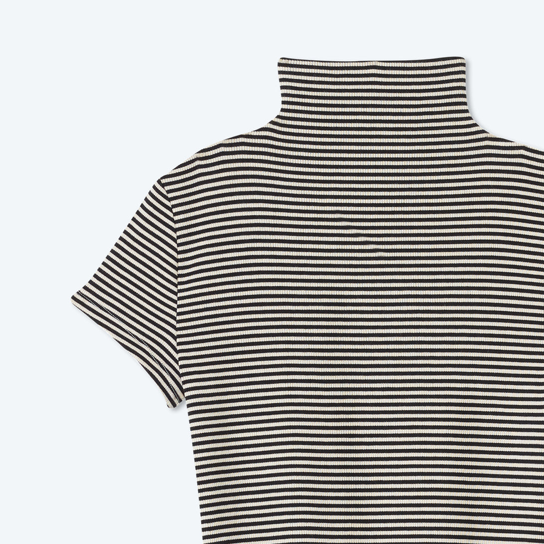 The Softest Ribbed Mock Neck T-Shirt - Sea Urchin & Oatmeal Stripe