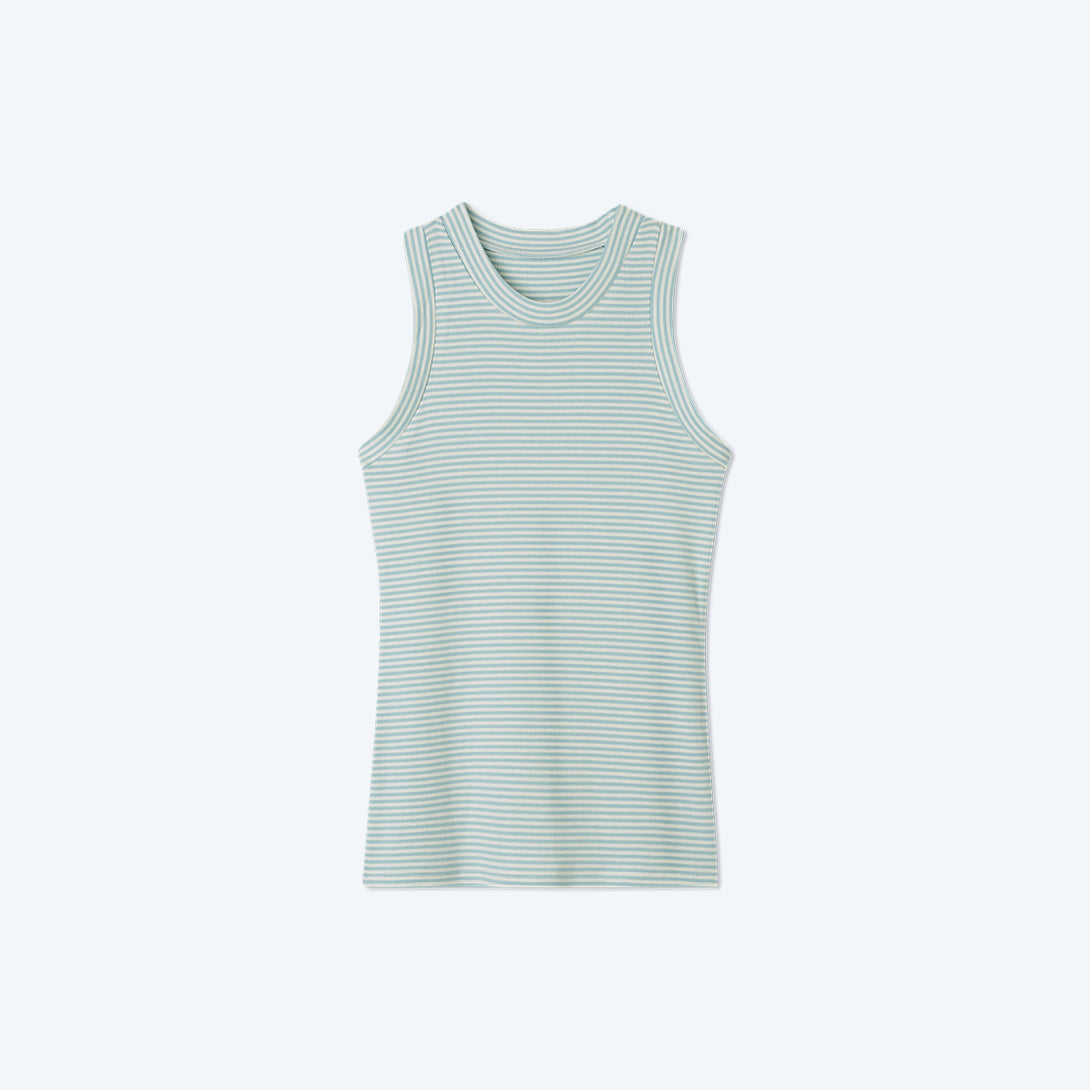 The Softest Ribbed Racerback Tank - Sage & White Sand Stripe