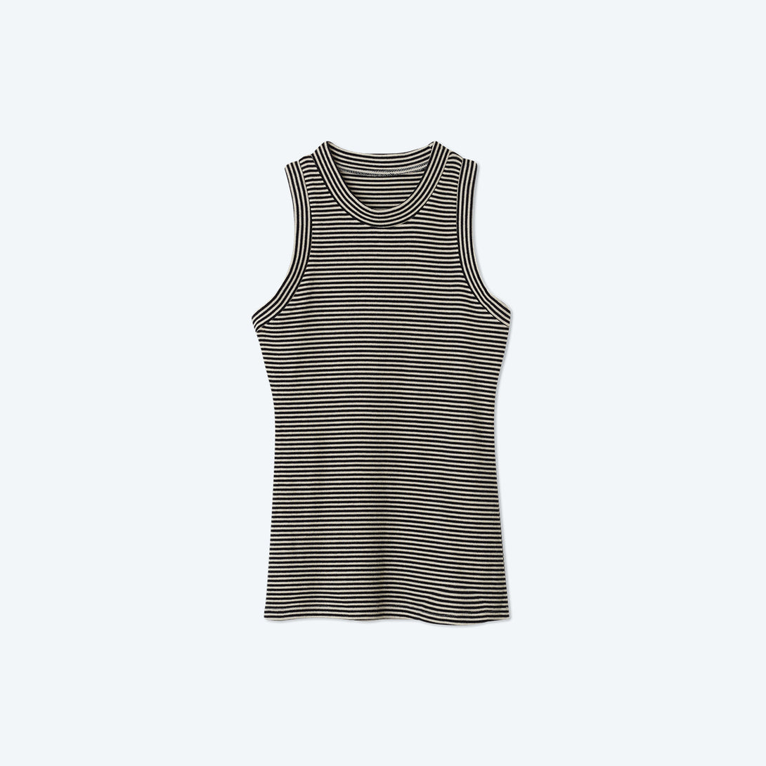 The Softest Ribbed Racerback Tank - Sea Urchin & Oatmeal Stripe