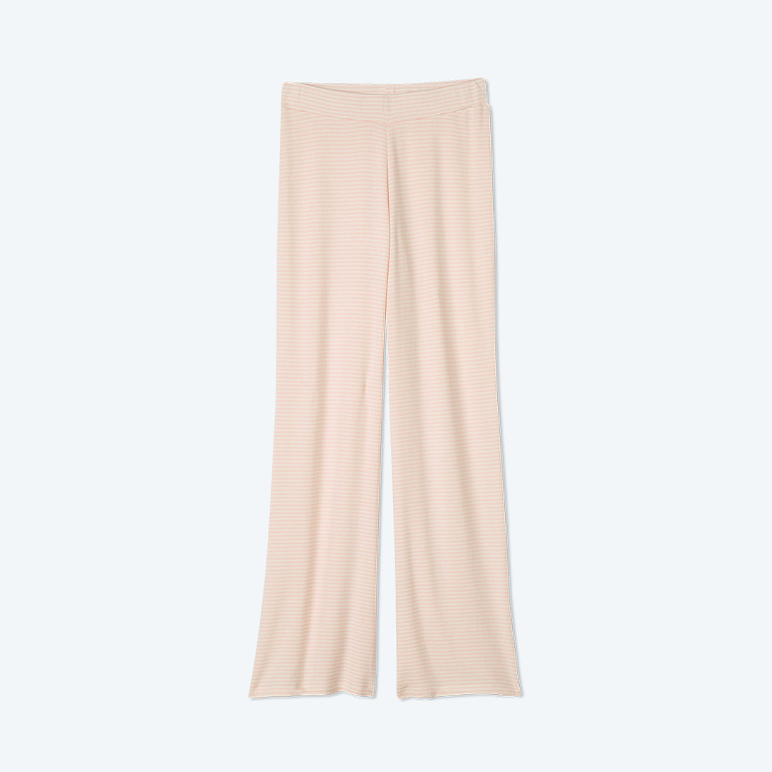 The Softest Ribbed Wide Leg Lounge Pant - Blush & White Sand Stripe