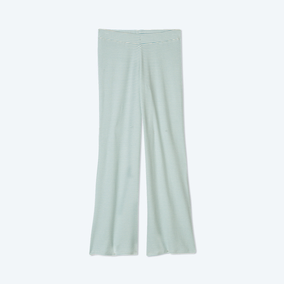 The Softest Ribbed Wide Leg Lounge Pant - Sage & White Sand Stripe