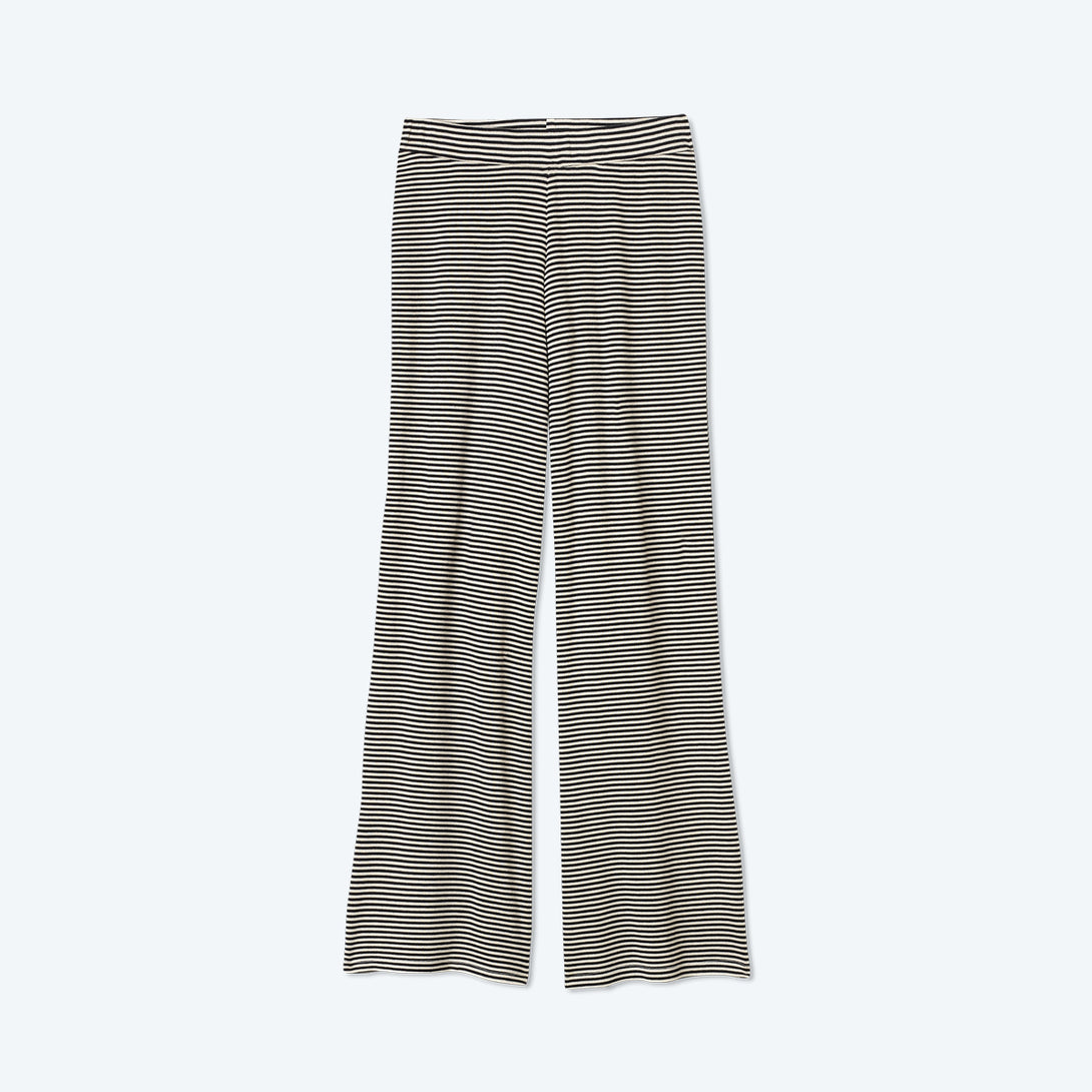 The Softest Ribbed Wide Leg Lounge Pant - Sea Urchin & Oatmeal Stripe