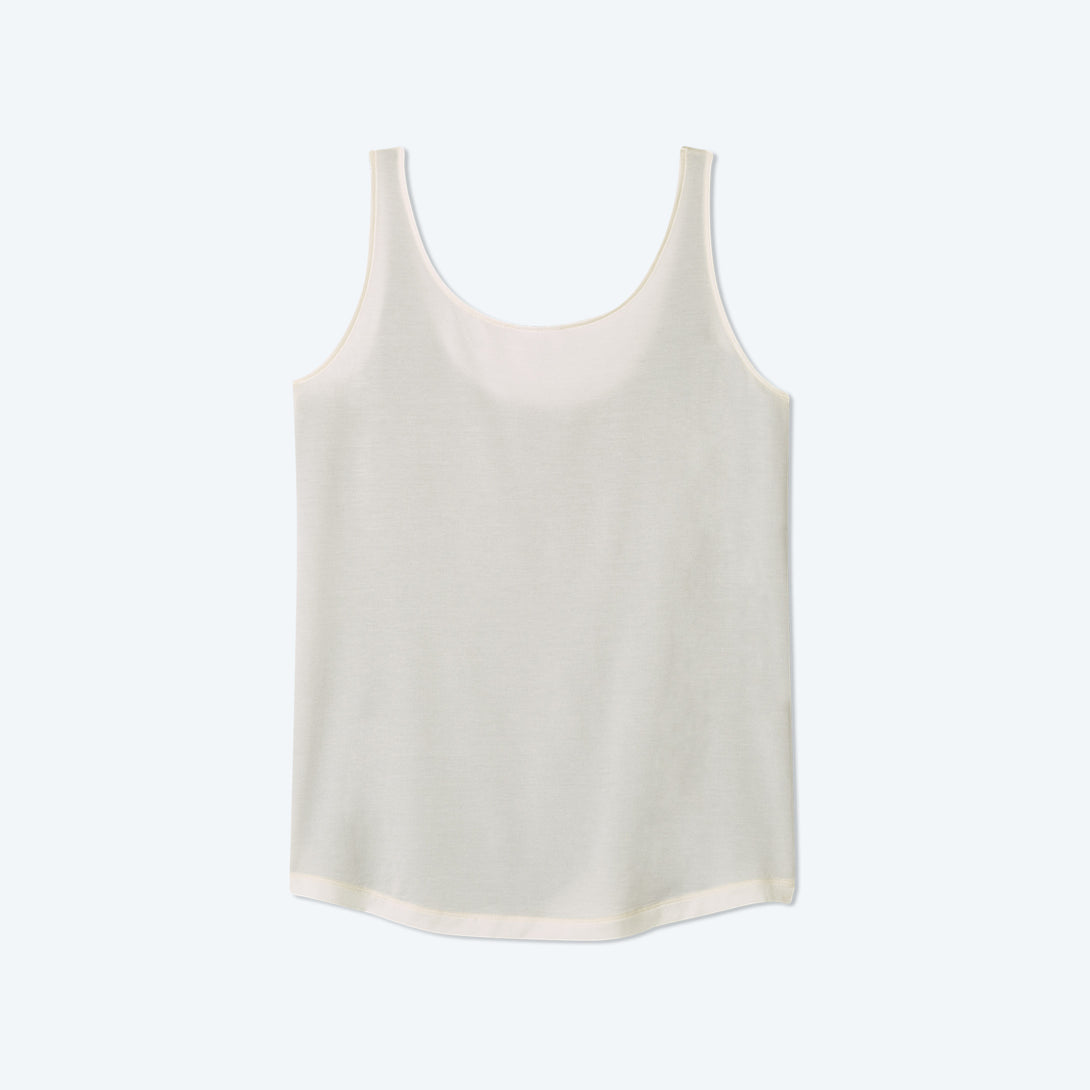 The Softest Tencel Scoop Neck Tank Top - Sea Urchin & White Sand