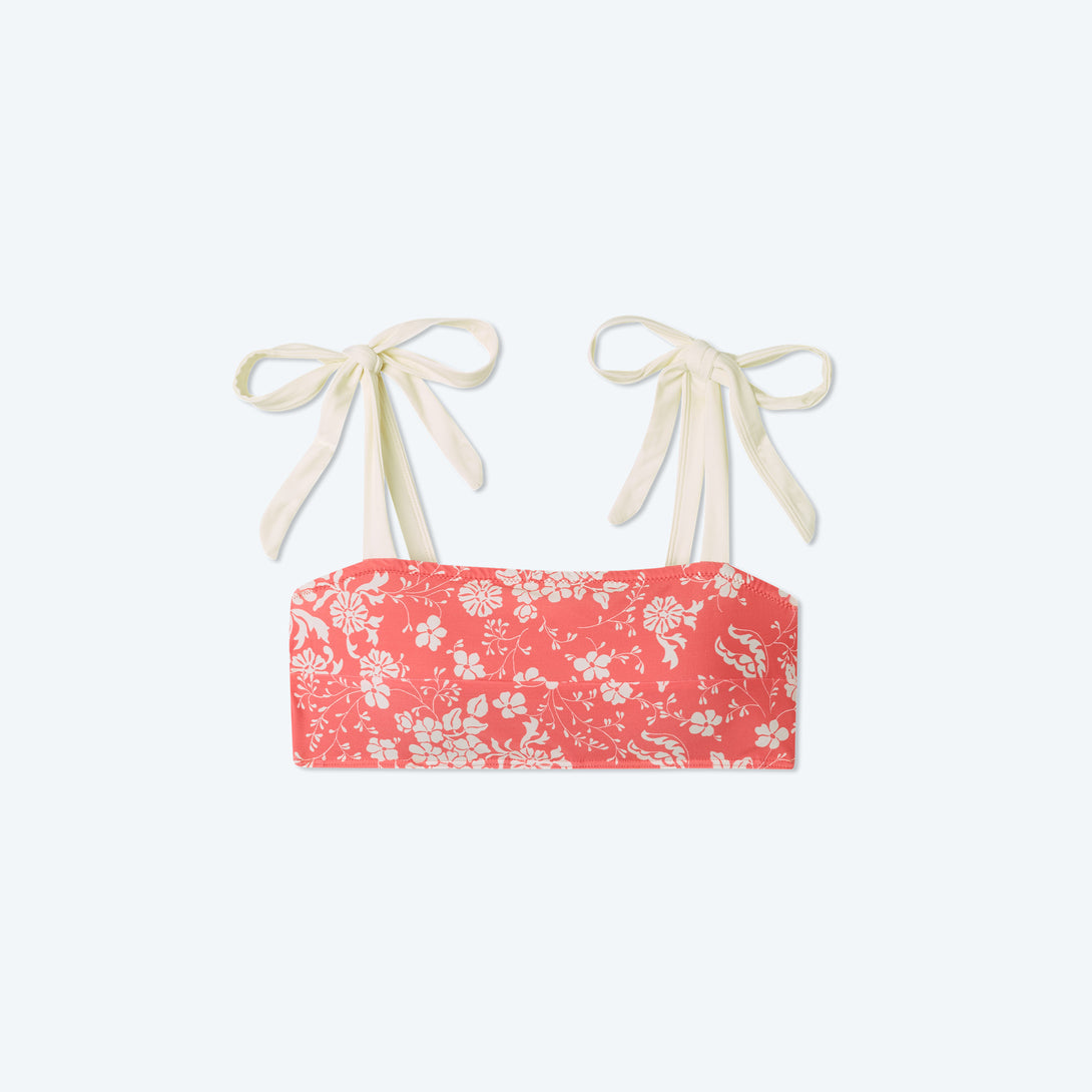 The Tie Oasis Bikini Top - Vintage Floral in Coral