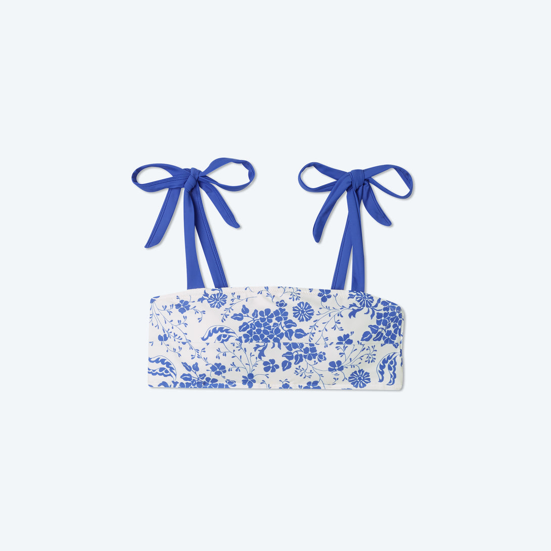 The Tie Oasis Bikini Top - Vintage Floral in Hydrangea