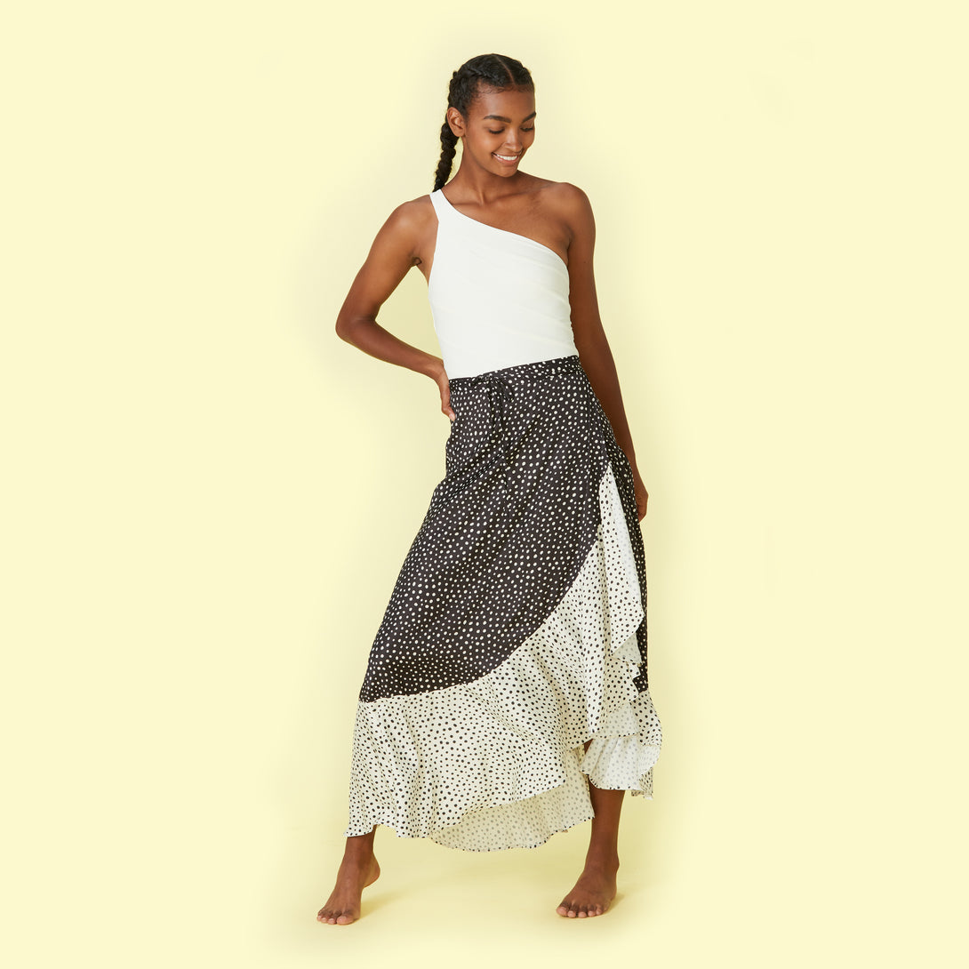 The Beach to Brunch Wrap Skirt - On the Dot