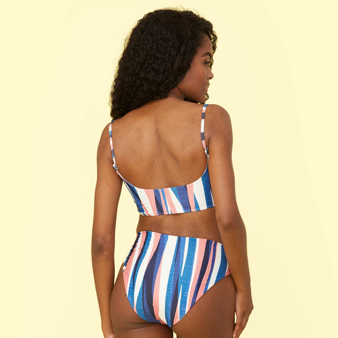 The Limited-Edition High Leg Mid Rise Bikini Bottom - Abstract Stripe