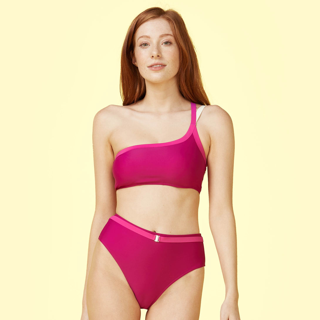 The Fused Sidestroke Bikini Top Orchid and Hibiscus Madeline