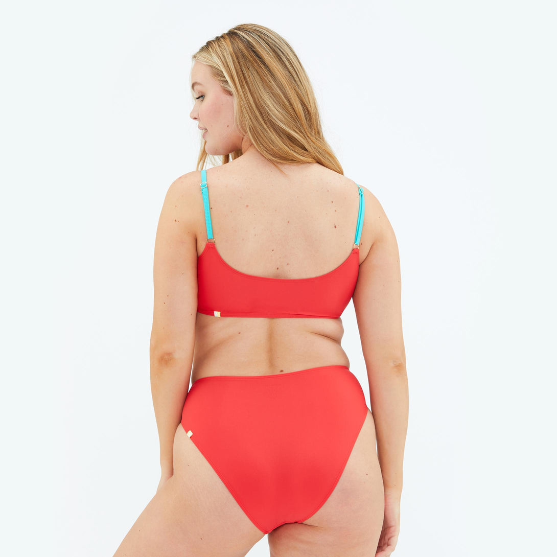 The High Leg Mid Rise Bikini Bottom - Grapefruit