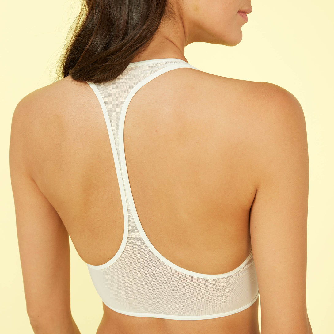 The Mesh Diver Bikini Top White Sand Dakota