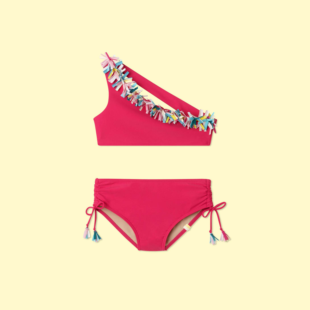 The Girls Multi Confetti Sidestroke Bikini Set - Dragon Fruit