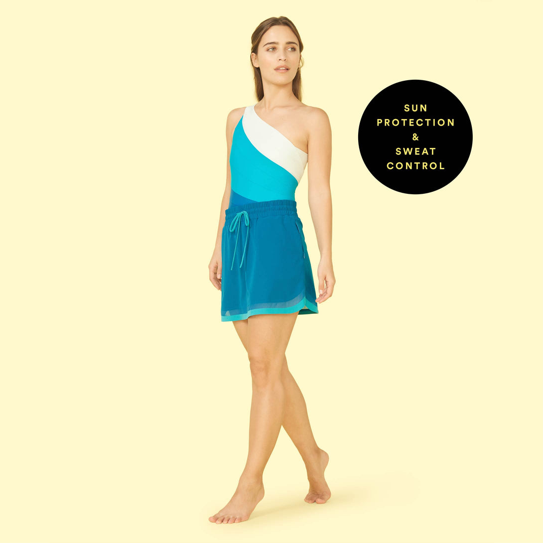The Beyond the Lounge Chair Skirt Pacific and Blue Lagoon Lera