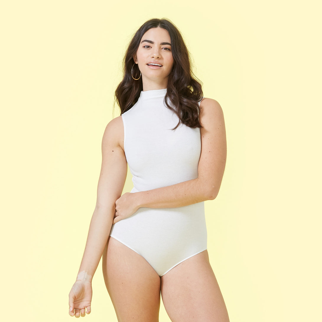 Image of The Sleeveless Day to Night Bodysuit White Sand Ashley