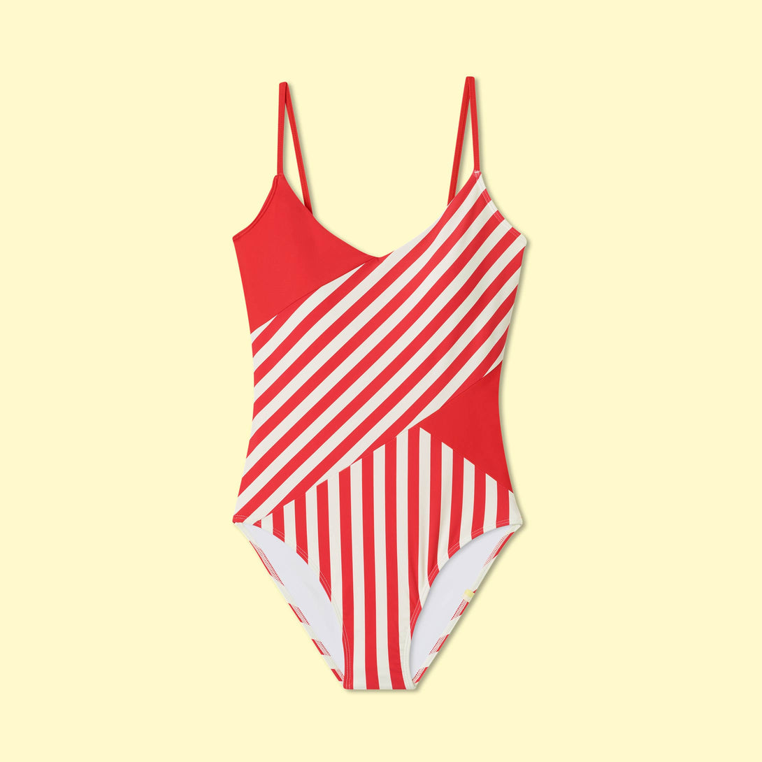 The Marina - Mixed Stripe in Grapefruit & White Sand