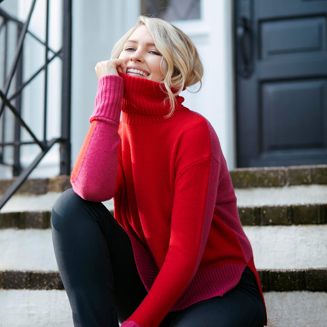 The Coziest Cashmere Turtleneck - Lava & Hibiscus