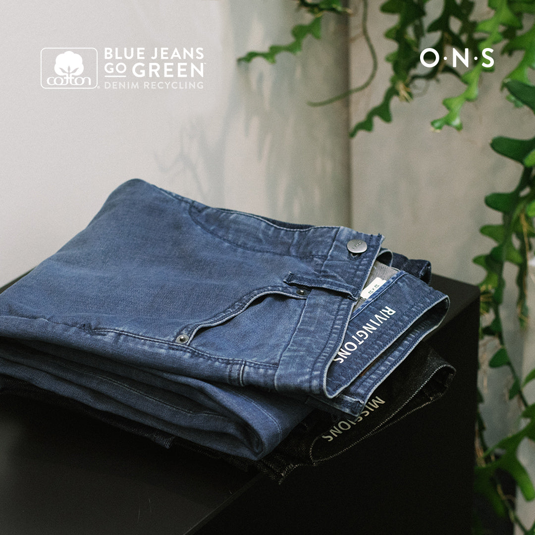 ONS Clothing and Cotton Inc Blue Jeans Go Green program collaboration BJGG. Bring your used Denim to 201 Mulberry and receive 20% of your next purchase at ONS