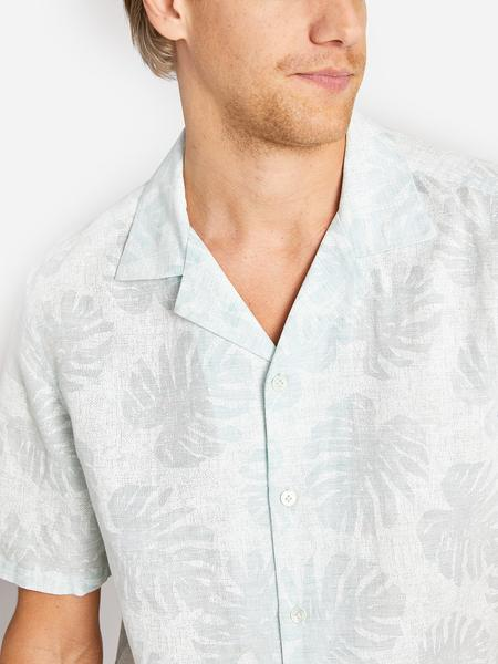MENS SHORT SLEEVE BUTTON DOWN SHIRT PALM LEAF PRINT