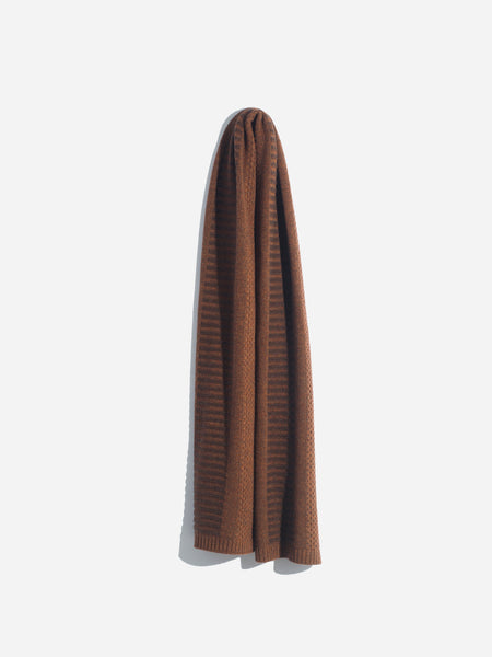 Wool Cashmere Scarf Saddle Brown