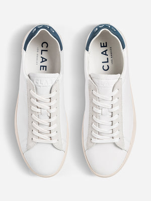 mens ons clothing nyc Clae tennis shoes White Leather Blue