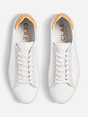 mens ons clothing nyc Clae tennis shoes White Leather Golden