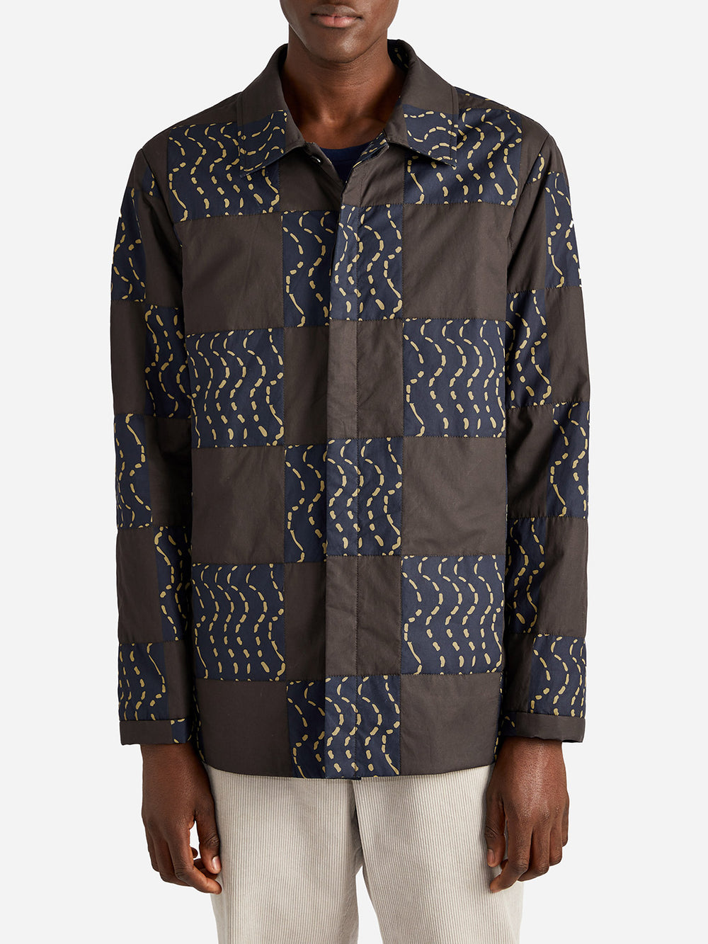 ISSA QUILTED SHIRT BROWN WAVE - ONS Clothing