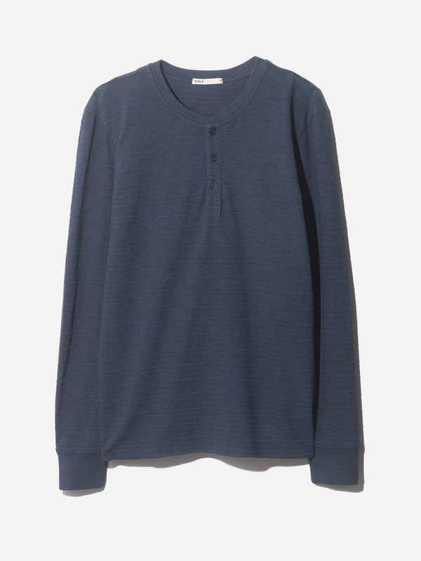 NAVY JACQUARD COURT HENLEY