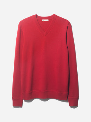 V NECK SWEATER RED