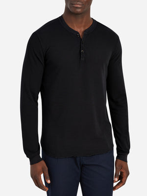 black friday deals ONS Clothing Men's COURT WAFFLE HENLEY Pre-shrunk Cotton in BLACK Pima Cotton