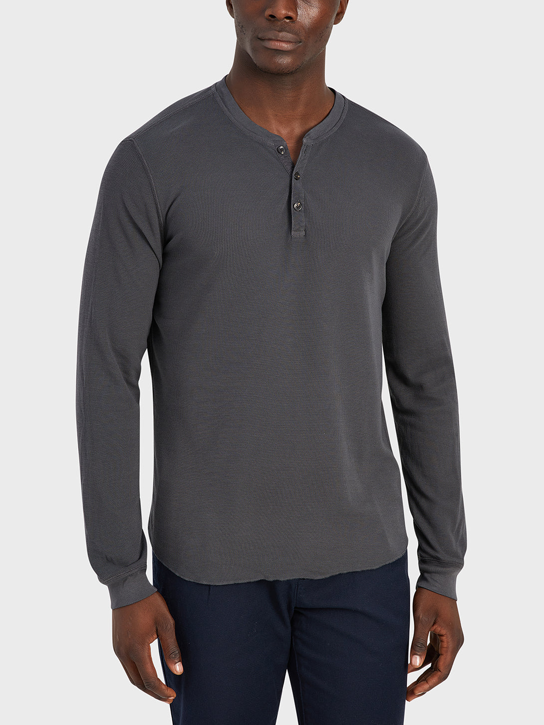 black friday deals ONS Clothing Men's COURT WAFFLE HENLEY Pre-shrunk Cotton in CHARCOAL Pima Cotton