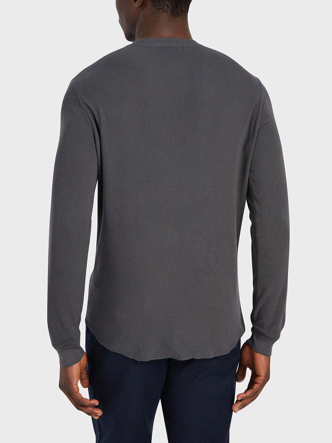 ONS Clothing Men's COURT WAFFLE HENLEY in CHARCOAL
