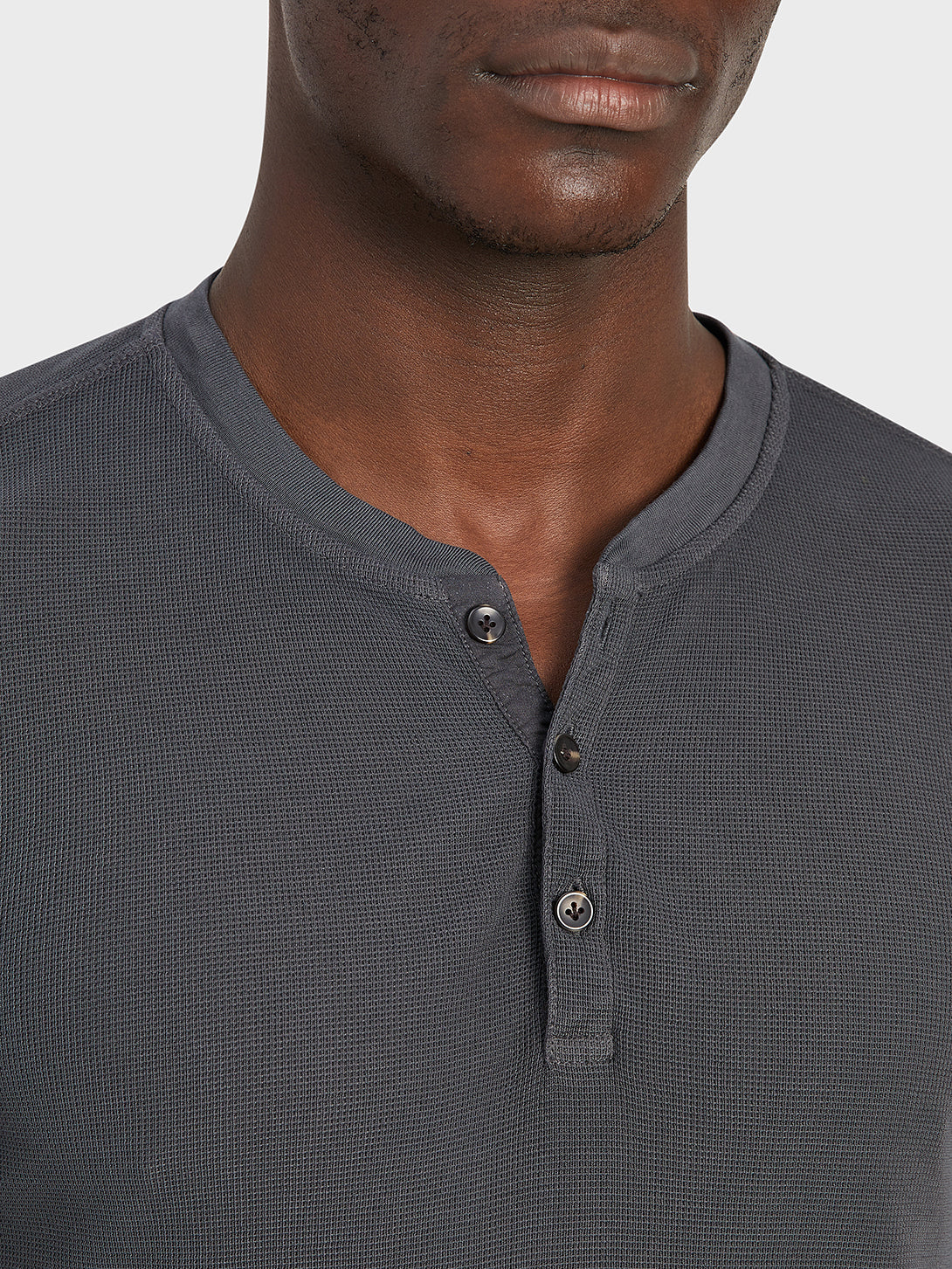 ONS Clothing Men's COURT WAFFLE HENLEY Pre-shrunk Cotton in CHARCOAL
