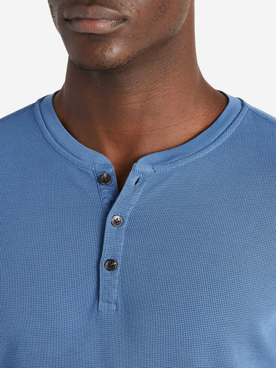 black friday deals ONS Clothing Men's COURT WAFFLE HENLEY Pre-shrunk Cotton in COBALT BLUE Pima Cotton