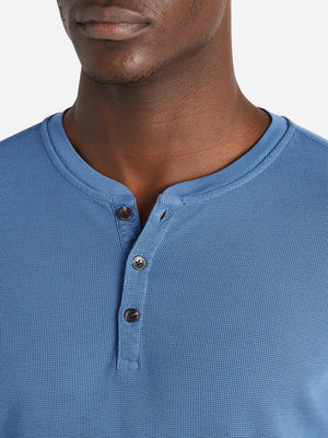 ONS Clothing Men's COURT WAFFLE HENLEY Pre-shrunk Cotton in COBALT BLUE