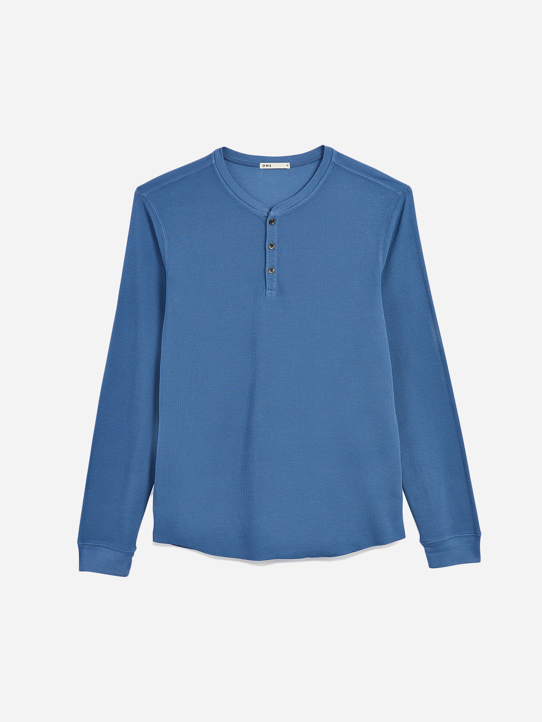 ONS Clothing Men's COURT WAFFLE HENLEY in COBALT BLUE