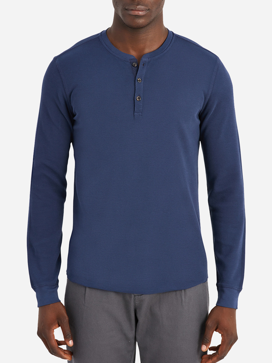 ONS Clothing Men's COURT WAFFLE HENLEY in COBALT NAVY
