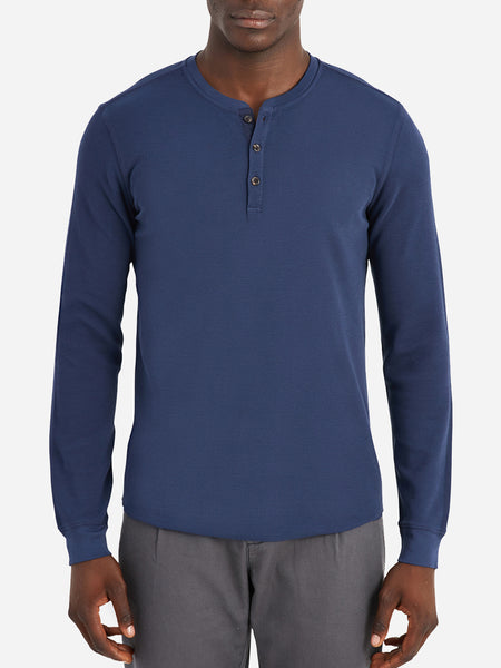 black friday deals ONS Clothing Men's COURT WAFFLE HENLEY Pre-shrunk Cotton in COBALT NAVY Pima Cotton