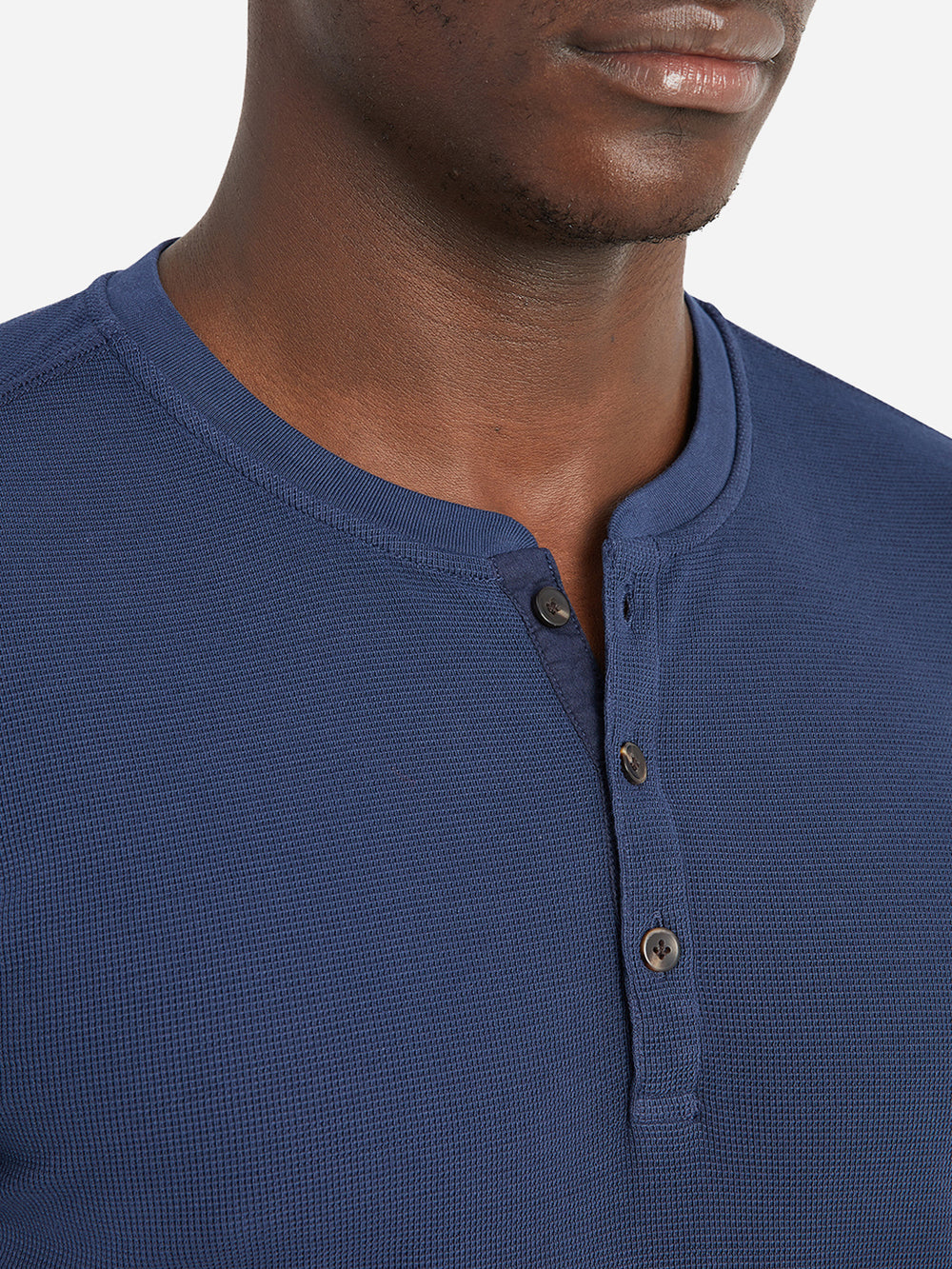 ONS Clothing Men's COURT WAFFLE HENLEY Pre-shrunk Cotton in NAVY