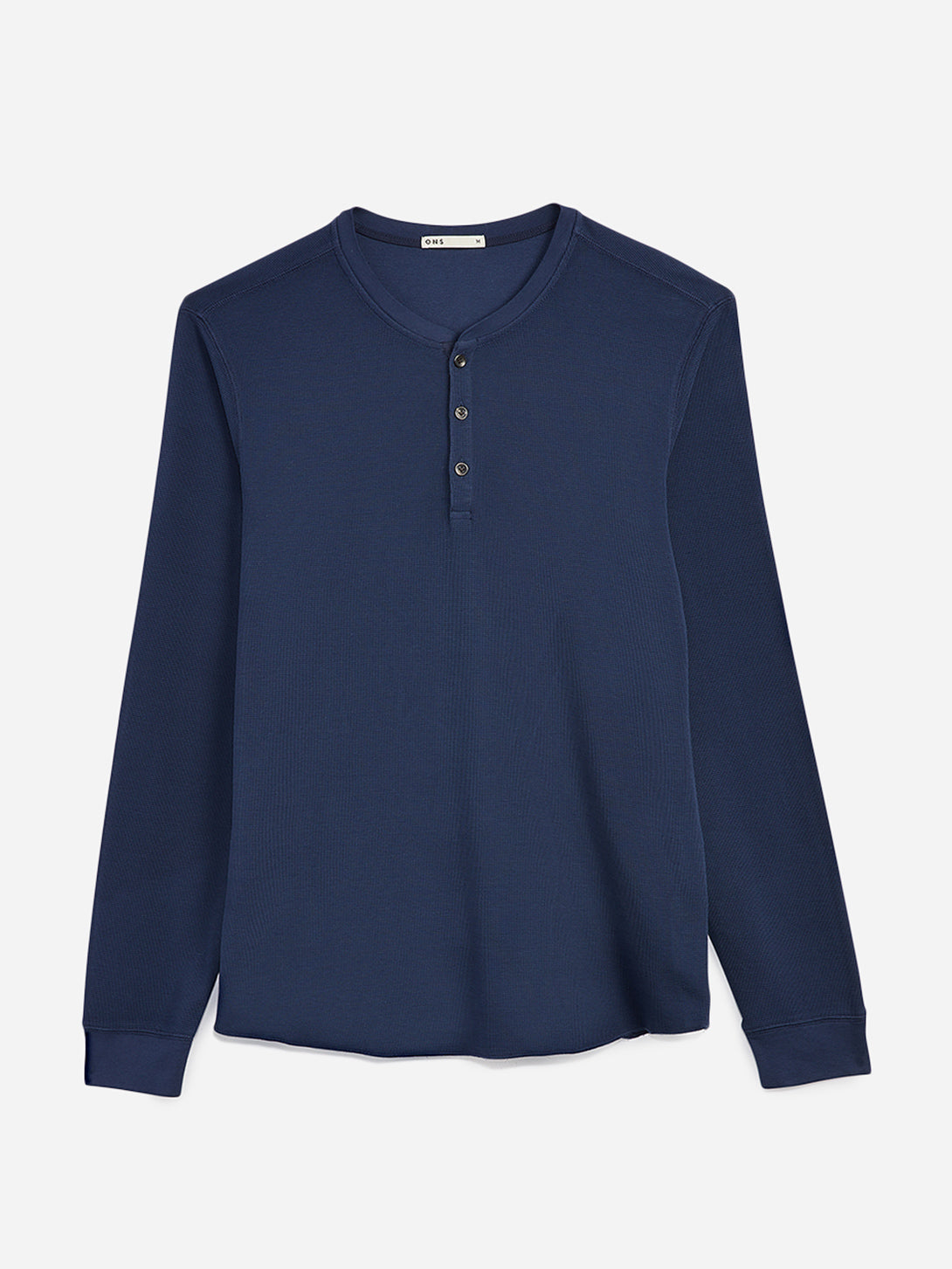 black friday deals ONS Clothing Men's COURT WAFFLE HENLEY Pre-shrunk Cotton in NAVY Pima Cotton