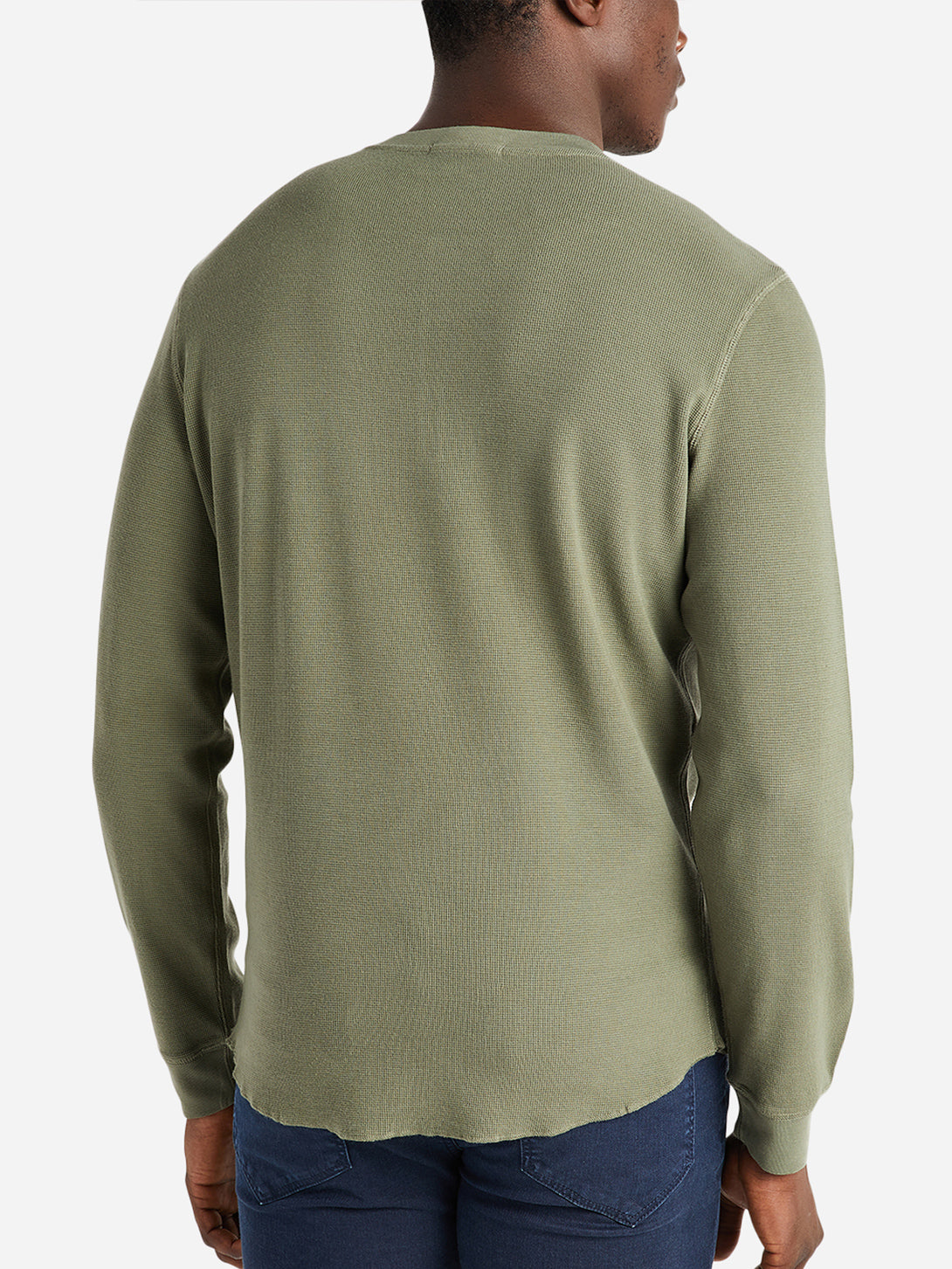 ONS Clothing Men's COURT WAFFLE HENLEY in OLIVE