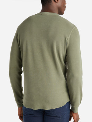 ONS Clothing Men's COURT WAFFLE HENLEY Pre-shrunk Cotton in OLIVE