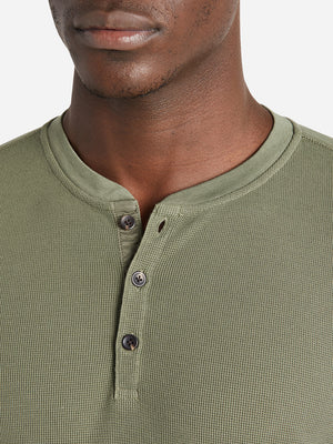 black friday deals ONS Clothing Men's COURT WAFFLE HENLEY Pre-shrunk Cotton in OLIVE Pima Cotton