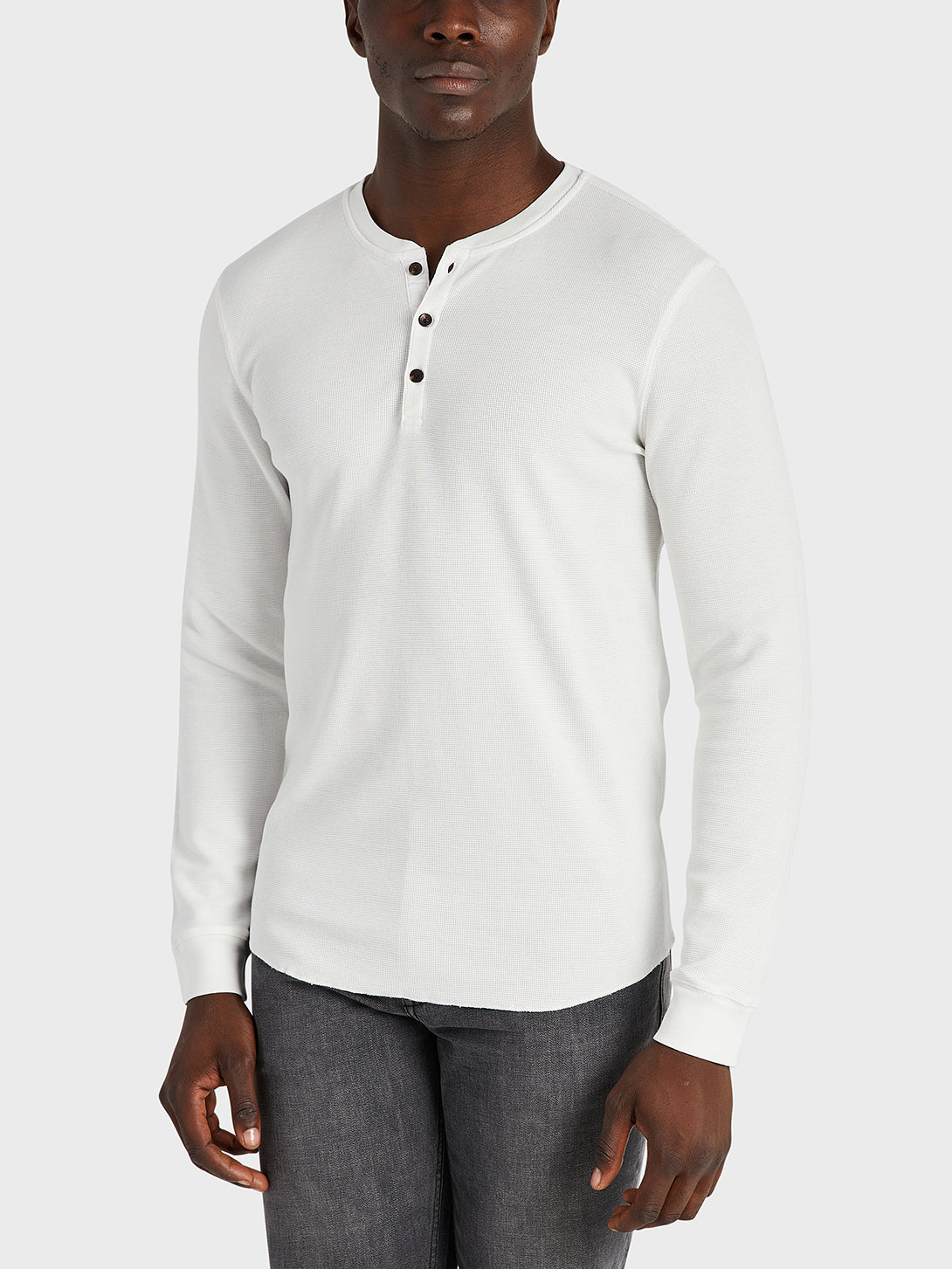 ONS Clothing Men's COURT WAFFLE HENLEY Pre-shrunk Cotton in WHITE