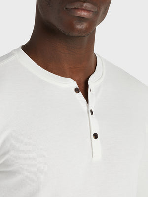 black friday deals ONS Clothing Men's COURT WAFFLE HENLEY Pre-shrunk Cotton in WHITE Pima Cotton
