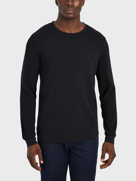 ONS Clothing Men's WAFFLE L/S VILLAGE CREW Pre-shrunk Cotton in BLACK