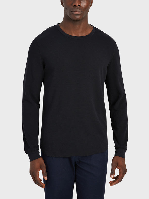 ONS Clothing Men's WAFFLE L/S VILLAGE CREW in BLACK