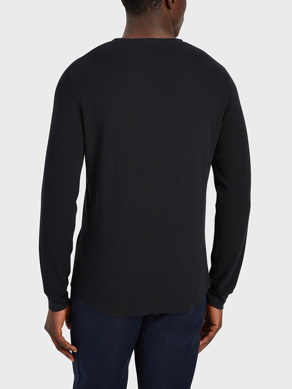ONS Clothing Men's WAFFLE L/S VILLAGE CREW Pre-shrunk Cotton in BLACK black friday deals